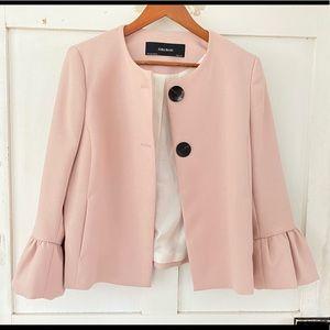 Zara Pink Fluted 3/4 Sleeve button jacket sz M